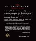 2012 Cabernet Franc Back Label